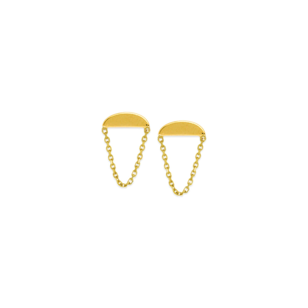 14K Yellow Gold Half Moon Chain Drop Earrings