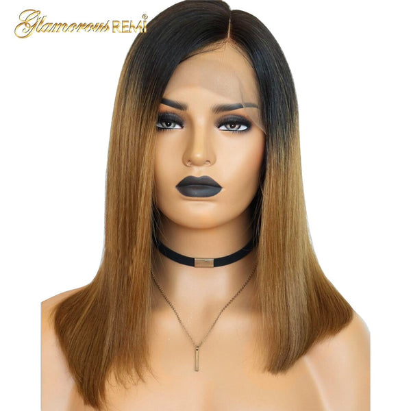 Ombre Short Bob Wig 1b/27 Lace Front Human Hair Wigs