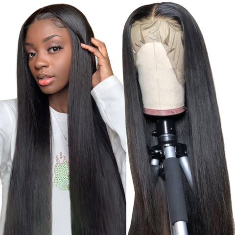 Silky Straight Lace Front Human Hair Wigs With Baby Hair