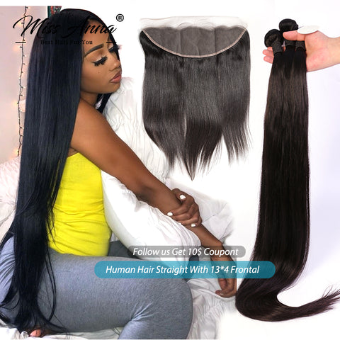 Human Hair Straight Bundles With Frontal and Closure