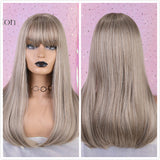 Hair Wig Ombre Brown Light Ash Blonde Medium Wave Wig