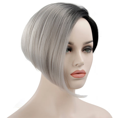 Grey Short Black Wigs For Women Synthetic Hair