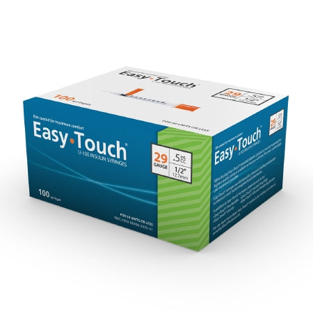 Insulin Syringe with Needle EasyTouch™ 0.5 mL 29 Gauge 1/2 Inch Attached Needle Without Safety