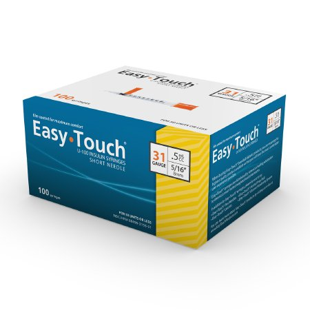 Insulin Syringe with Needle EasyTouch™ 0.5 mL 31 Gauge 5/16 Inch Attached Needle Without Safety