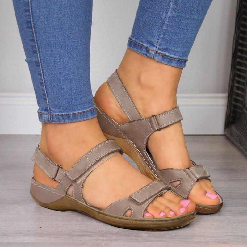Lace-up Hook & Loop Open Toe Sandals