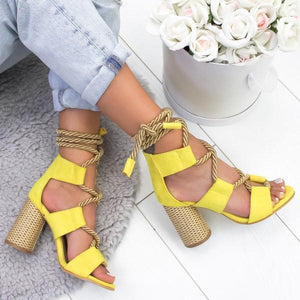 Casual Suede High Heel Lace Up Sandals