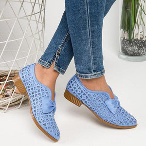 Hollow Bowknot Breathable Flat Shoes