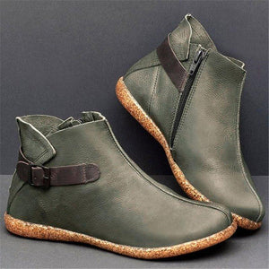 Women Casual Comfy Round Toe Zipper Pu Ankle Boots