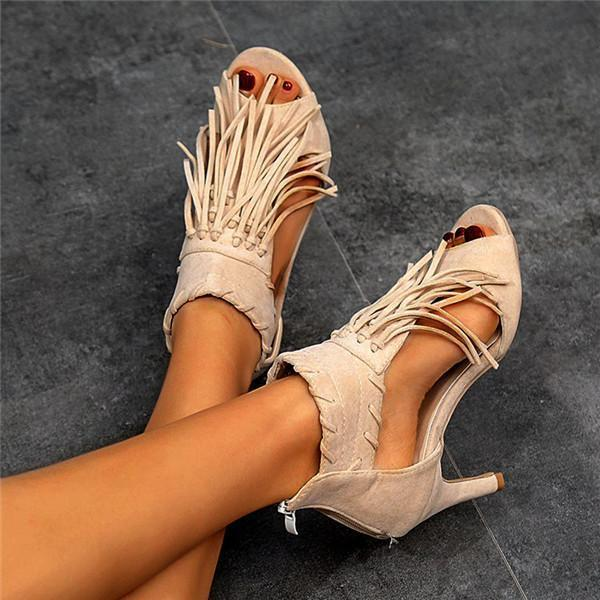 Women's Fashion Sexy Tassel Retro High Heels Sandals