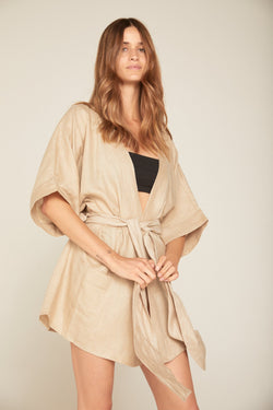 SUMMER LILLY LINEN ROBE SAMPLE