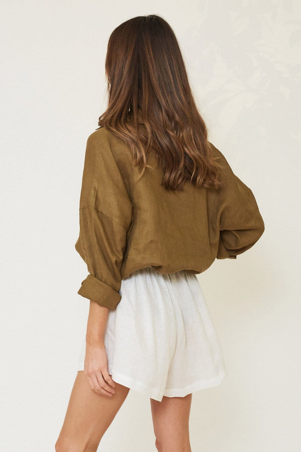 WILLOW BUTTON UP LINEN SLEEP SHIRT