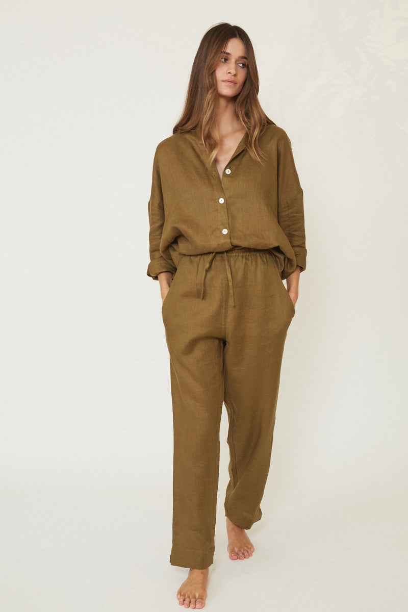 WREN DRAWSTRING LINEN TROUSERS