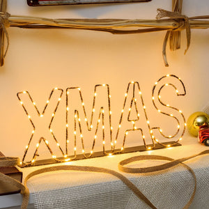 Scritta luminosa led XMAS color rame, bianco caldo