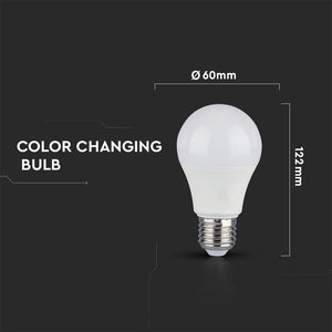 V-TAC DUO PACK CONFEZIONE 2 LAMPADINE LED E27 9W BULB A60 3STEP COLOR CHANGING