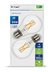 V-TAC DUO PACK CONFEZIONE 2 LAMPADINE LED E27 6W BULB A60 CROSS FILAMENT