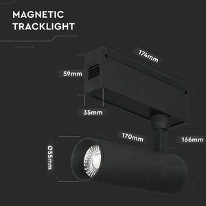 V-TAC MAGNETIC TRACK LIGHT FARETTO LED MAGNETICO 15W NERO CRI≥90 36°