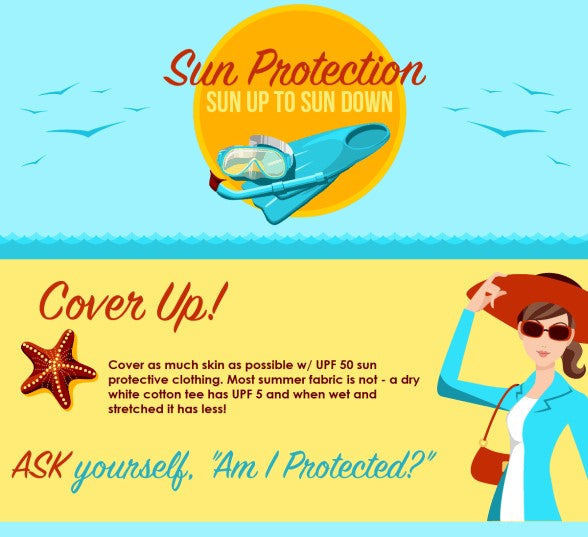 Sun protection tips with educational infographic