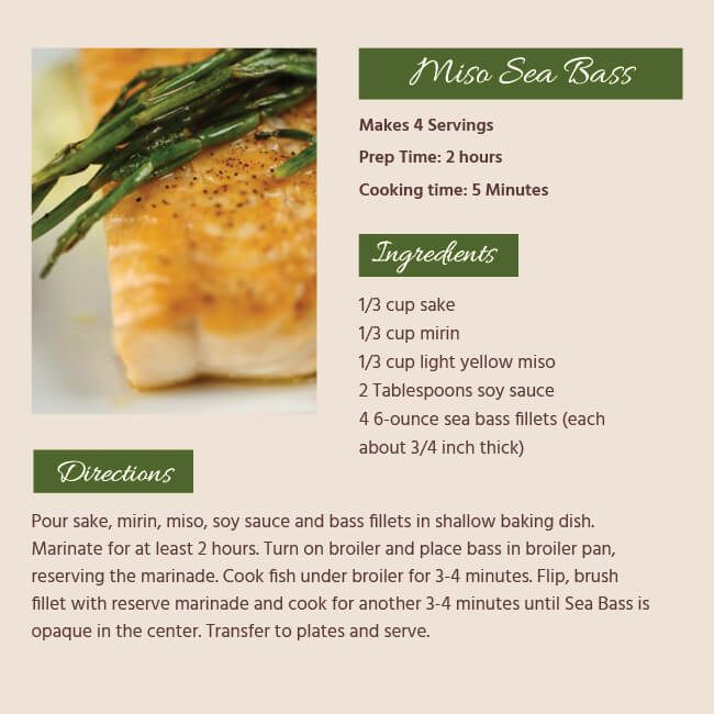Miso Bass Recipe Card