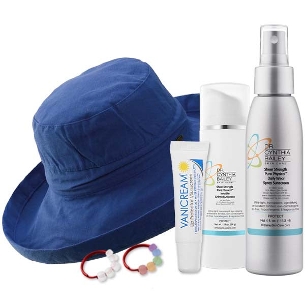 Dermatologist's sunscreen and hat to prevent sunspots