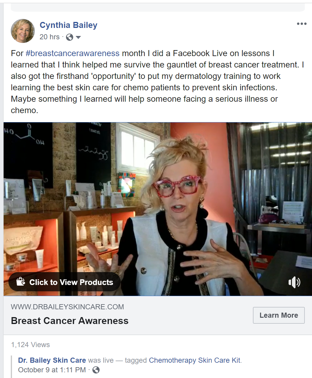Dermatologist and breast cancer survivor Dr. Bailey's breast cancer story