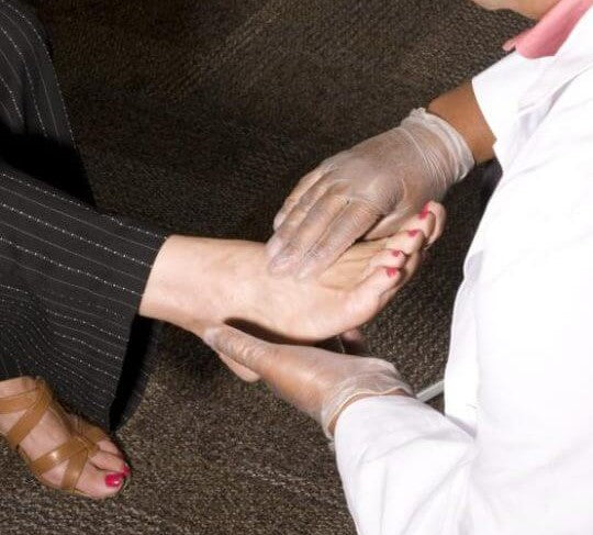 diabetic neuropathy and skin problems are screened with a foot exam