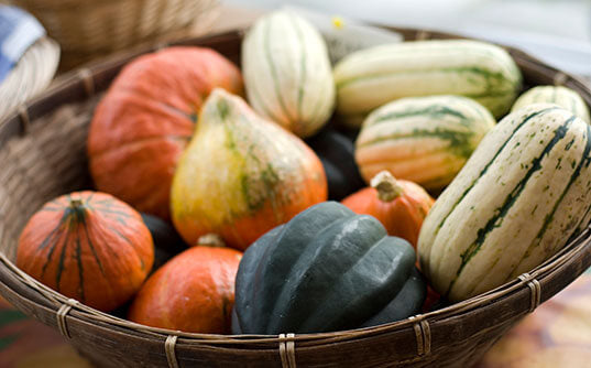 Fall and Winter Squash are good foods for your skin