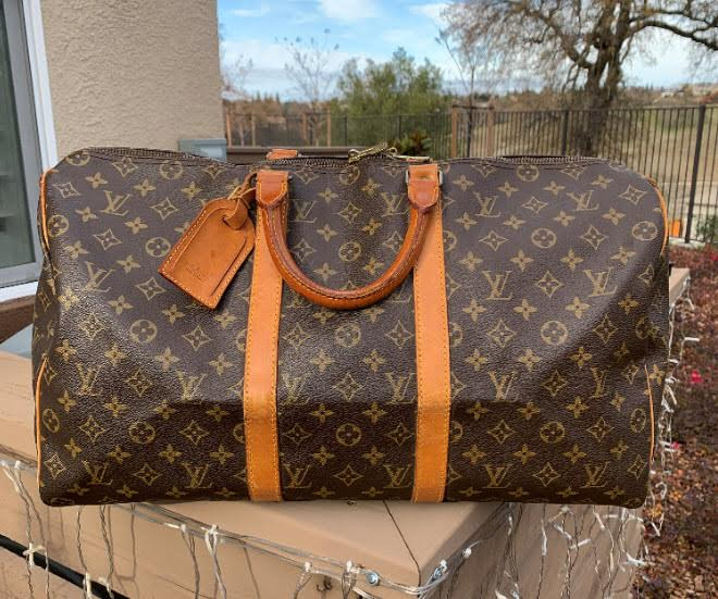 Authentic Louis Vuitton Monogram Canvas Brown Keepall Bandouliere 55 Long Strap Lock & Key