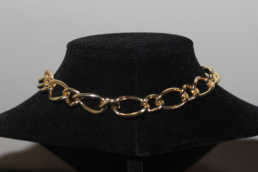 "Gold Plated 16"" Thin Alternating Chain Link Toggle Necklace with 100% Authentic Louis Vuitton Lock and Key"