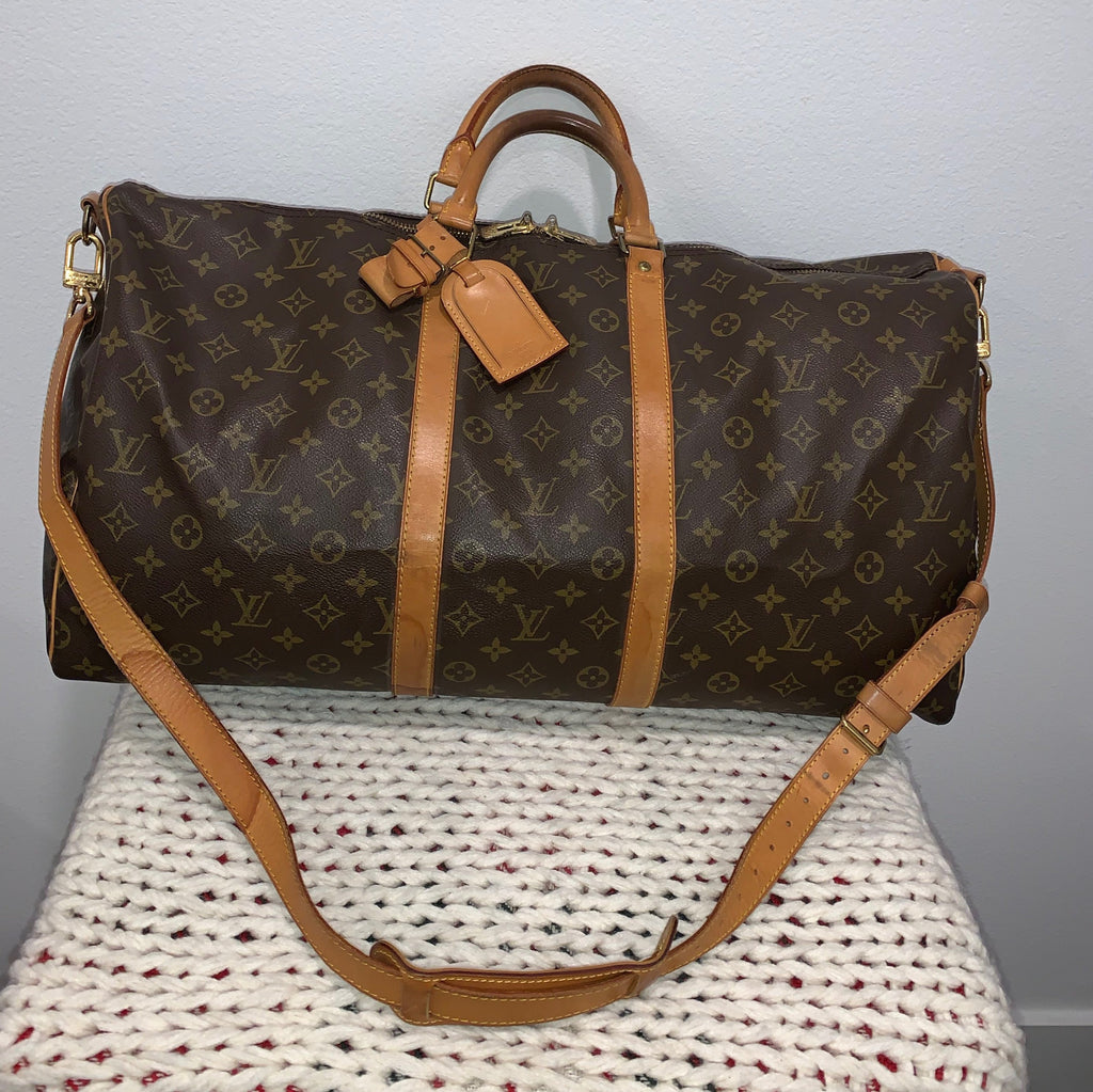 Authentic Louis Vuitton Keepall Bandouliere 55 Brown Monogram