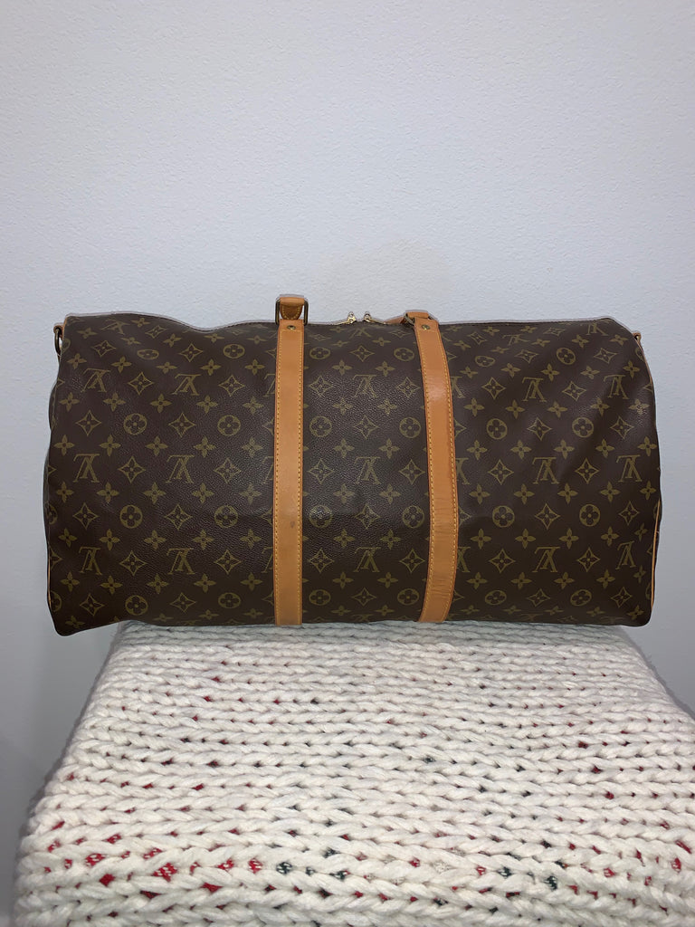 100% Authentic Louis Vuitton Keepall Bandouliere 55 Brown Monogram Canvas