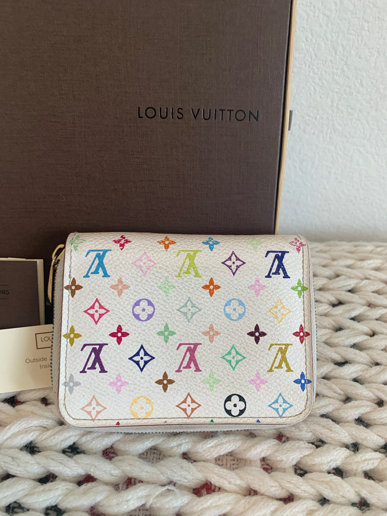 Authentic Louis Vuitton White Multicolor Zippy Coin Purse Wallet Card Holder Wallet