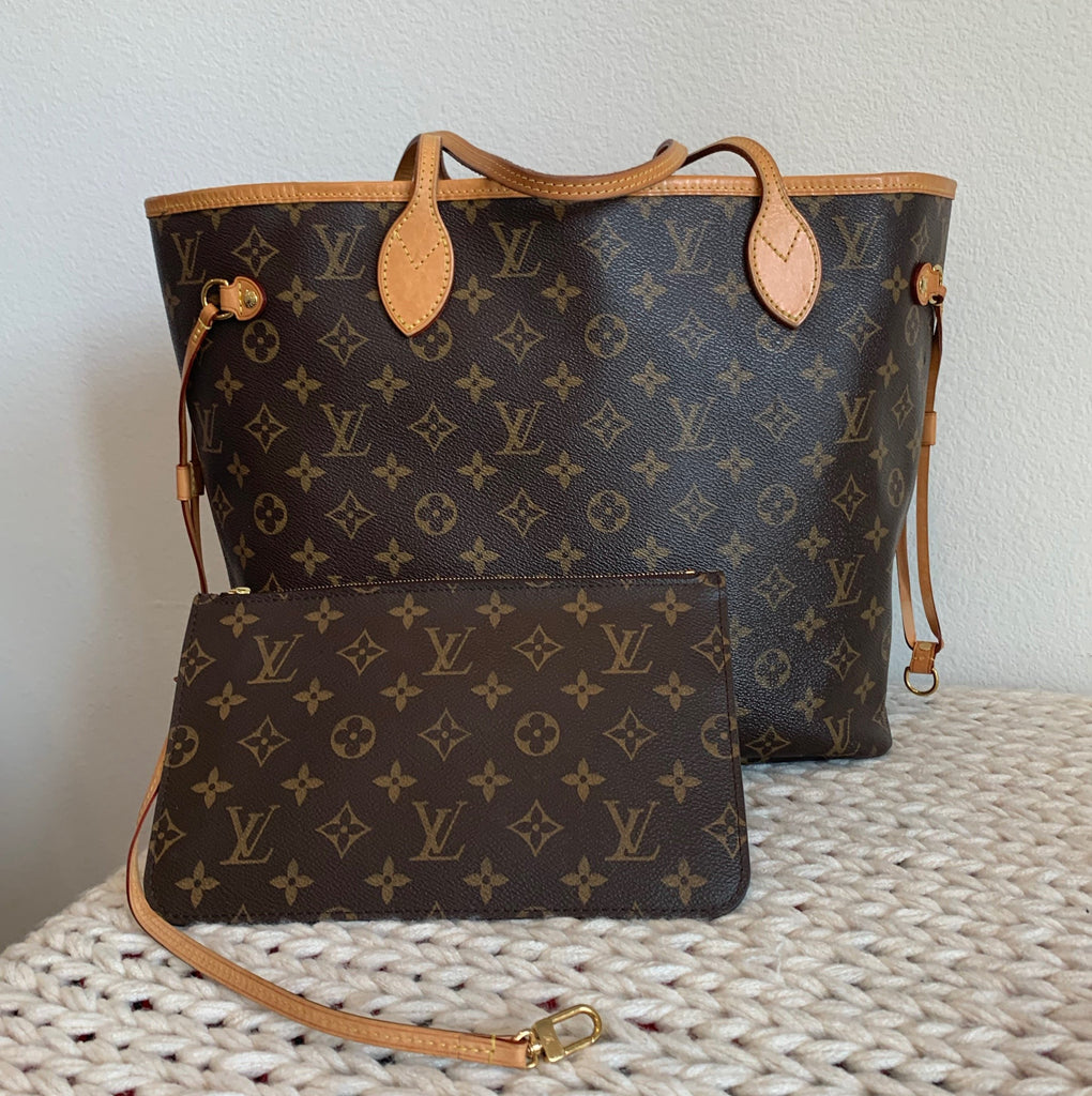 Authentic Louis Vuitton Neverfull MM Brown Monogram Canvas Tote Handbag Purse LV With Dustbag & Box