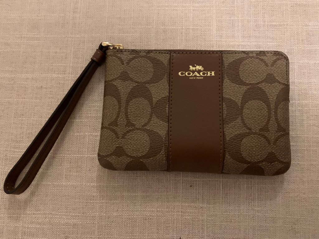 Coach Signature Canvas Corner Zip Wristlet with Crossgrain Leather Details