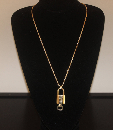 "Gold Plated Long 16, 18, or 24"" Long Pendant Necklace With Authentic Louis Vuitton Key & Lock"