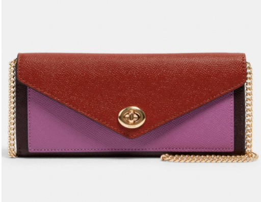 Coach Slim Envelope Wallet With Chain In Colorblock