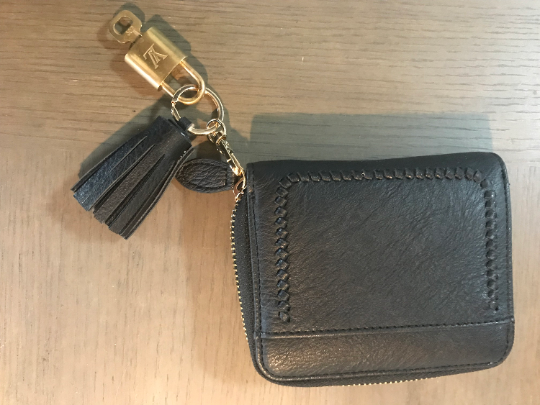 Black Faux Leather Wallet Keychain with Louis Vuitton Authentic Lock and Key