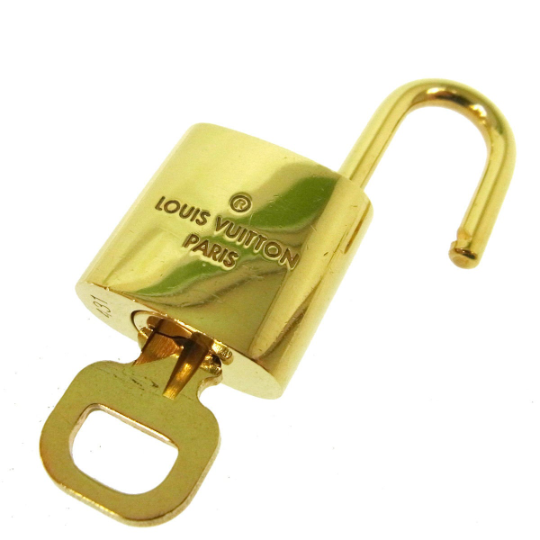 Louis Vuitton Lock and Key Set Gold Brass Accessory Vintage Authentic Gold Metal Lock Pre Owned