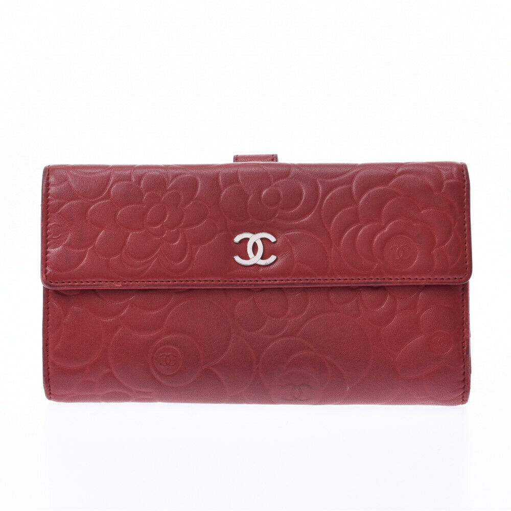 Authentic CHANEL CC Red Leather Long Snap Cardholer Wallet
