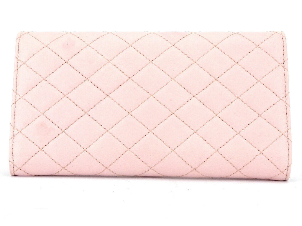 Authentic DOLCE & GABBANA Wallet Quilted Pink Leather Lock Card Holder Wallet Clutch