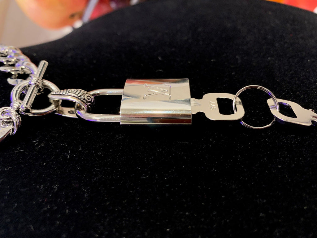 Silver Chunky Chain Necklace with Toggle with Louis Vuitton Padlock