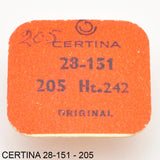 Certina 28-151, Center wheel with cannon pinion, no: 205, H: 2.42 mm.