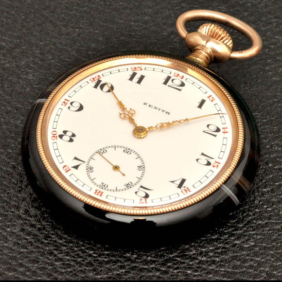 ZENITH, NOS Tiger-eyed stone cased pocket watch from 1920