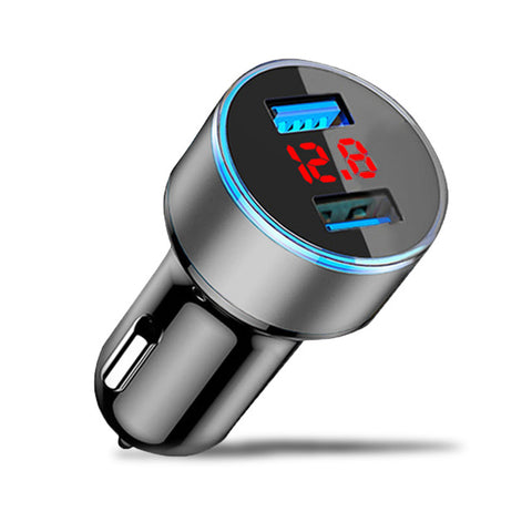 Dual USB Car Charger With LED Display