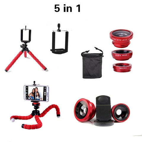 5 in 1 Phone Tripod With Zoom Lenses - Free