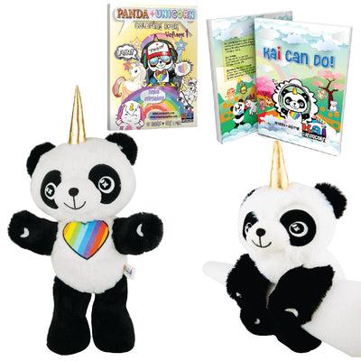4 Bundle Gift Set  - Includes hardback book, coloring book, Kai Plush Doll, and Wrist Plush Hugger