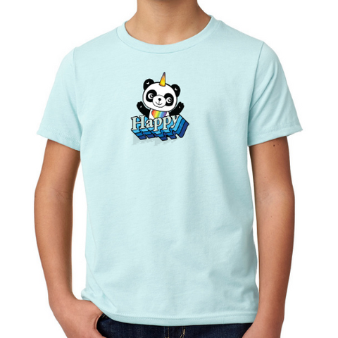 "Boys Youth Mid-Scoop Cotton ""Happy"" T-shirt - Panducorn.com"