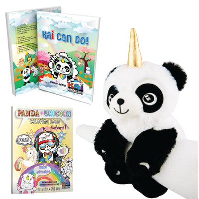 3 Bundle Gift Set - Includes Soft back book, Coloring book, and Wrist Plushie Hugger
