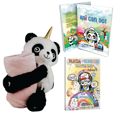 Panducorn Plushie with Blanket, Book, and Coloring Bundle 3 Gift Set