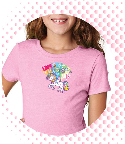 "Girls Youth Princess ""Live a Magical Life"" Unicorn T-shirt - Panducorn.com"