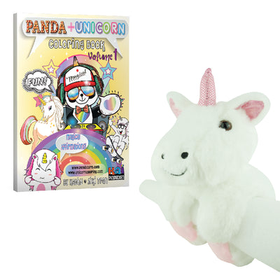 Unicorn Wrist Plushie and Coloring Book Bundle 2 Piece Gift